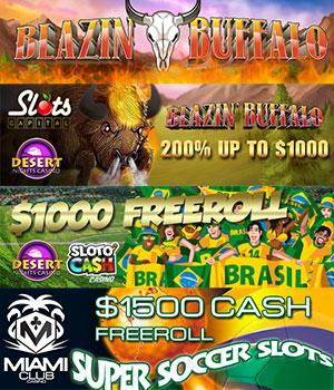World Cup Freerolls, Free Spins and Blazin' Buffalo's Bonuses!