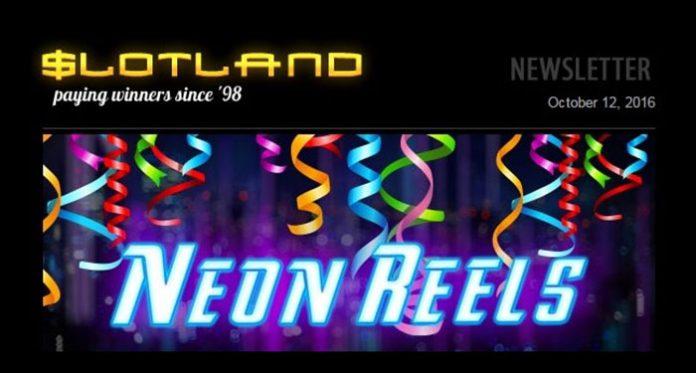 Neon Reels Birthday Freebies at Slotland Casino, This Week Only