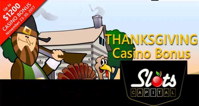 Slots Capital Thanksgiving Day Bonus, up to $1200 in Extra Cash