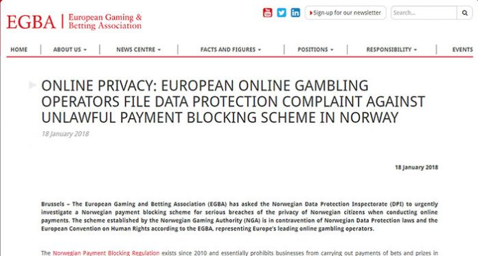 Complaint Filed Against Norway Gaming Authority Payment Blocking Scheme