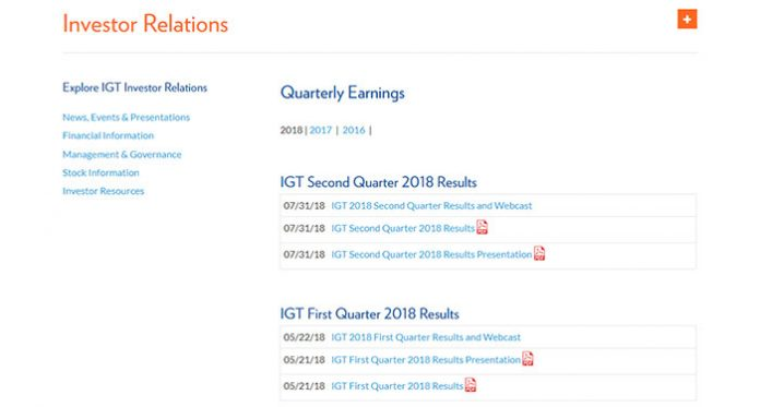 International Game Technology Posted its Q2 2018 Financials