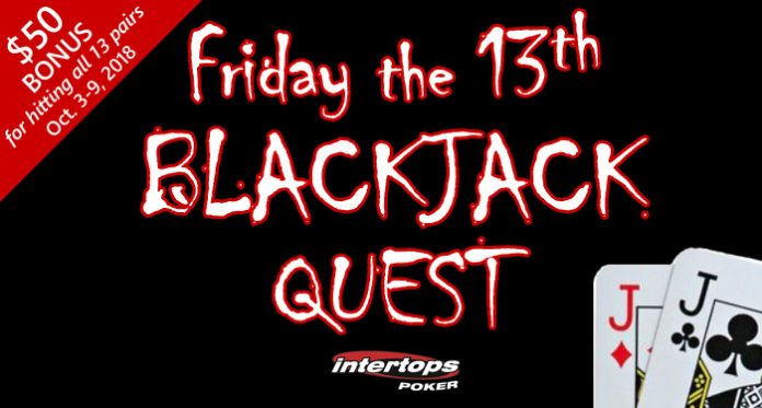 Celebrate Friday the 13th at Intertops Poker with a Blackjack Special