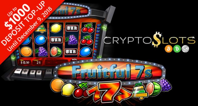 Play the New Fruitful 7's Slot at CryptoSlots, Up to $1000 Deposit