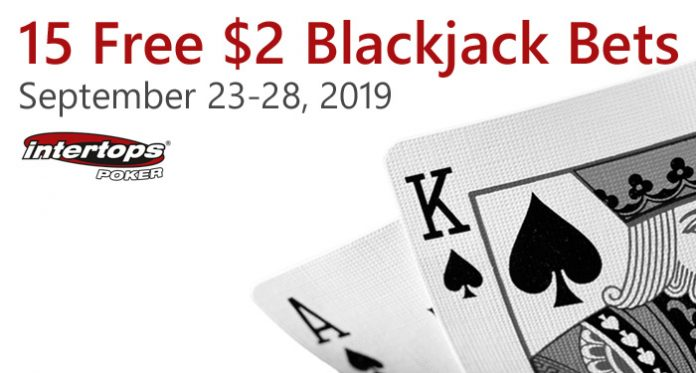 Intertops Poker Players Can Win up to $250 with 15 Free Blackjack Bets