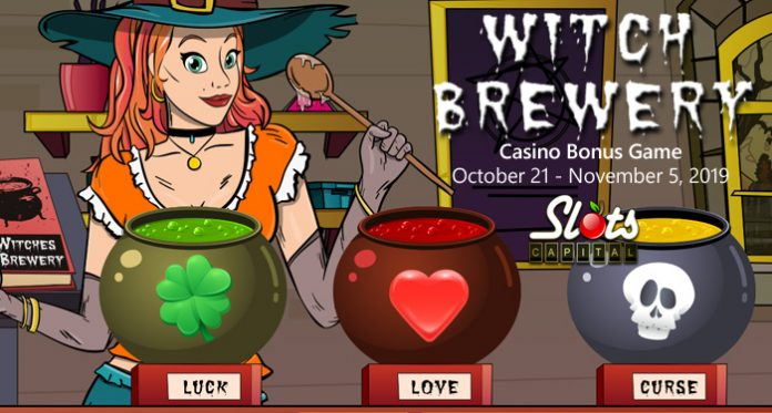 Players that know their magic potion ingredients can win bonuses up to $1500 during the Witch Brewery Halloween game at Slots Capital Casino.