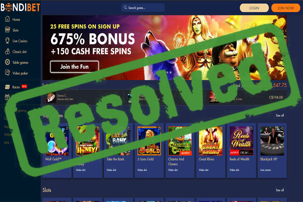 BondiBet Casino Complaint