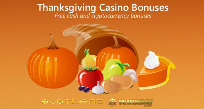 Free Cash Crypto Bonuses This Thanksgiving at Slotland & WinADay Casino