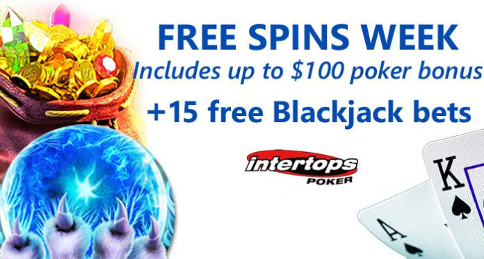Double Win for Intertops Poker: Free Spins AND up to $100 Poker Bonus