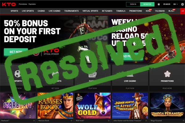kto.com casino complaint