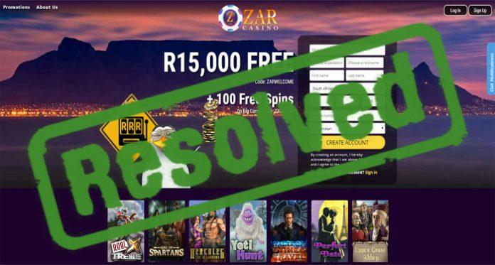 Zar Casino Complaint