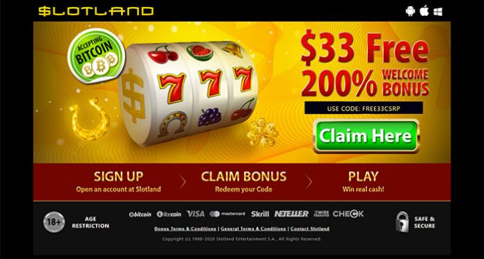 It's Monthly Mystery at Slotland Casino, Win a 30%, 50% or a 100% Reload Bonus