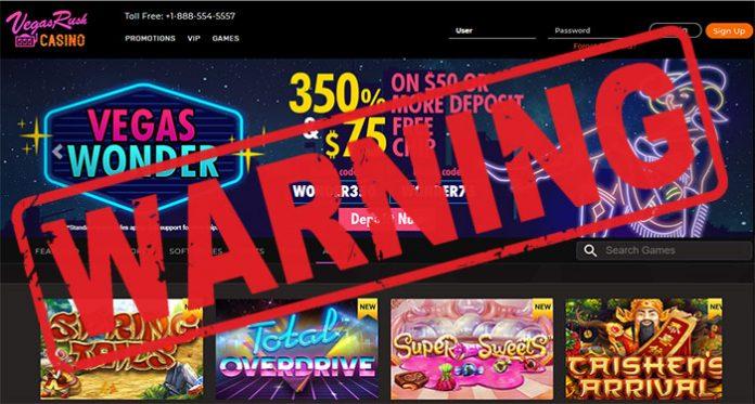 vegas rush casino scam