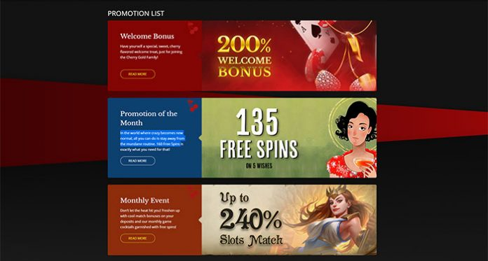 Cherry Gold Promotion of the Month, Get 160 Free Spins
